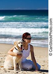 犬, 浜, 若い, 女性, モデル