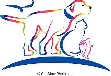 犬, 芸術, カラフルである, ねこ, ベクトル, 線, うさぎ, ペット