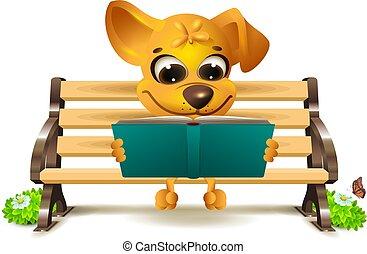 犬, 黄色, ベンチ, 読む, 本, 座る