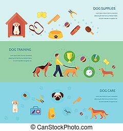 犬, 3, セット, 旗, 横, 平ら