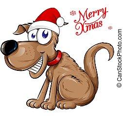 犬, claus, 隔離された, text., クリスマス, santa, イラスト, 陽気
