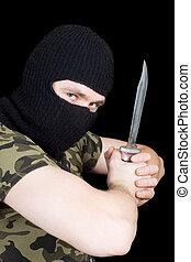 ∥, 犯罪者, ∥で∥, a, ナイフ, 中に, a, 黒, マスク