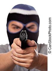 犯罪者, スキー, 銃, 指すこと, 覆われた