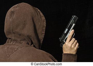 犯罪者, フード付き, 銃