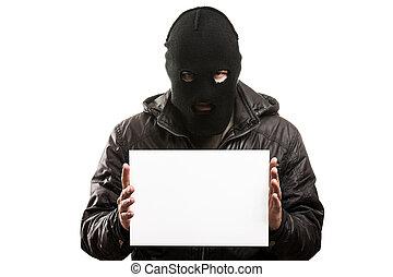 犯罪者, 人, 中に, balaclava, ∥あるいは∥, マスク, カバーの 表面, 保有物, ブランク, wh