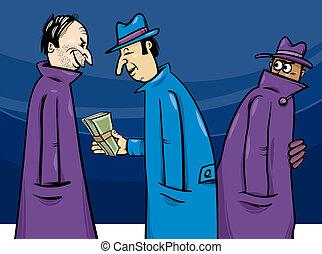 犯罪, ∥あるいは∥, 汚職, イラスト, 漫画