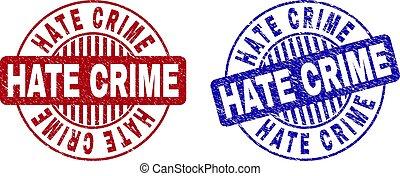 犯罪, 憎悪, ラウンド, グランジ, スタンプ, 傷付けられる