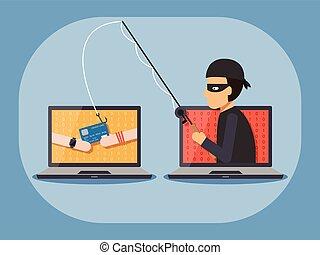 犯罪, 概念, セキュリティー, cyber