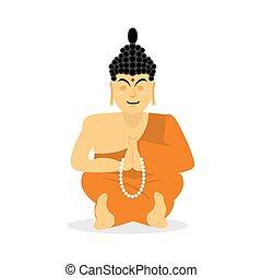 狀態, enlightenment., 神圣, pose., isolated., 上帝, buddhists., yoga., 考慮, 最高, 老師, 涅磐, 背景。, 僧侶, 印第安語, 佛, 亞洲人, 蓮花, 桔子長袍, 白色