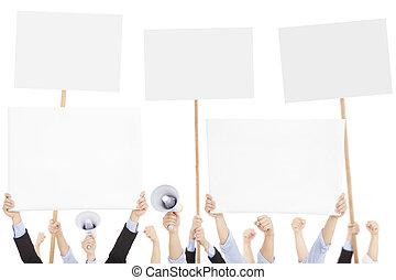 狂暴, 人们, 抗议, 带, 板, 同时,, 扩音器