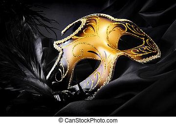 狂歡節面罩, 上, 黑色, 絲綢, 背景