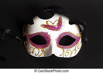 狂歡節面罩, 上, a, 黑色的背景