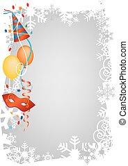 狂歡節, 冬天, 裝飾, 框架