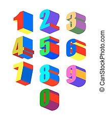 狂気, セット, illustration., numbers., colorfu, ベクトル, 3dl