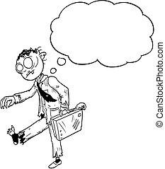 狂気, ハロウィーン, イラスト, 漫画, ゾンビ, スピーチ, ビジネスマン, 図画, 泡, ∥あるいは∥, 空