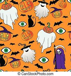 狂気, ハロウィーン, 幻影, seamless, 面白い, pattern., 死, 大鎌