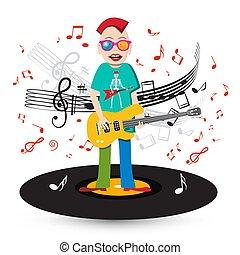 狂気, 低音 プレーヤー, メモ, 歌手, ギター, レコード, ビニール, 背景, スタッフ
