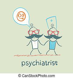 狂気, 患者, 行く, 精神科医