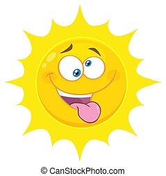狂気, 突き出る, 太陽, 特徴, 黄色の額面, 気違い, 舌, 表現, 漫画, emoji