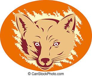 狐狸頭, 正面圖