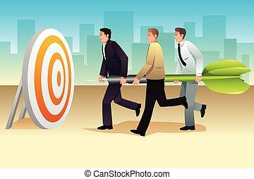 狙いを定める, ビジネスマン, ターゲット, さっと動きなさい