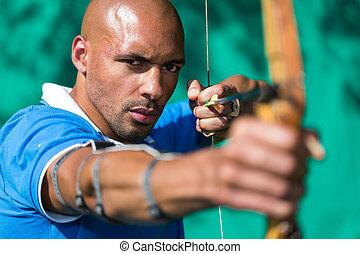 狙いを定める, 射手, ターゲット, 矢, 弓