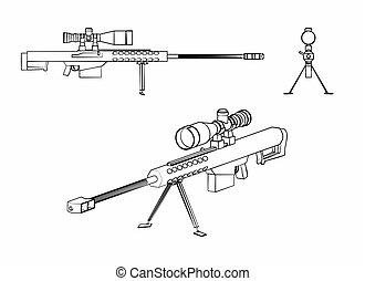 狙撃兵, アウトライン, ブラシストローク, のように, 銃