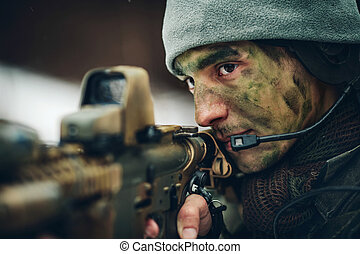 狙撃兵, 武装させられた, 銃, カモフラージュ, 人