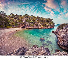 独特, 地中海, 海景, 在中, turkey., 色彩丰富的日出, 在中, the, 海盗, 海湾, 在上,...