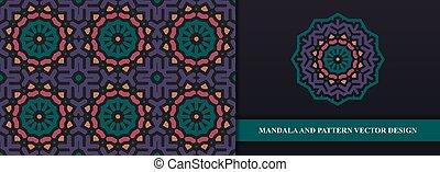 独特, 抽象的, ベクトル, seamless, 民族, mandala, 装飾, パターン, カラフルである, 優れた, 背景