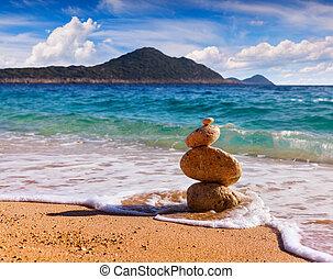 独特, 海景, 在中, turkey., 阳光充足, 春天, 天, 在上, 地中海, sea., 艺术, 风格, 邮寄,...