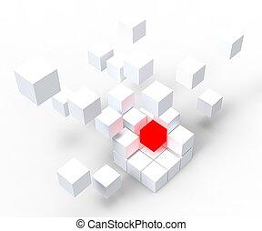 独特, 赤, ブロック, 提示, 際立
