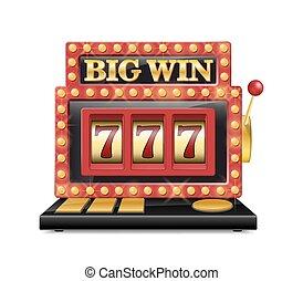 狭缝机器, 为, 娱乐场, 幸运七, 在中, 赌博, 游戏, 隔离, 在上, white., jackpot, 狭缝, 大, 取得胜利, 娱乐场, machine., 矢量, 一, 胳臂, bandit.