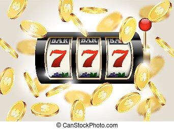 狭缝机器, 带, 幸运七, 同时,, 落下, 金色, 硬币, 背景。, 胜利者, casino.