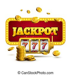 狭缝机器, 幸运, sevens, jackpot, 概念, 777., 矢量, 娱乐场, game., 狭缝机器,...
