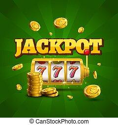 狭缝机器, 幸运, sevens, jackpot, 概念, 777., 矢量, 娱乐场, game., 狭缝机器, 带, 钱, 硬币。, 财富, 机会, jackpot