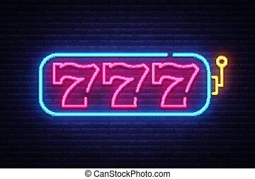 狭缝机器, 氖征候, vector., 777, 狭缝机器, 设计, 样板, 氖征候, 光, 旗帜, 氖, signboard, nightly, 明亮, 做广告, 光, inscription., 矢量, 描述
