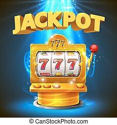 狭缝, 金色, 机器, jackpot., 取得胜利