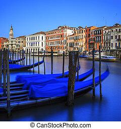 狭长平底船, 在上, 大运河, 在中, 威尼斯