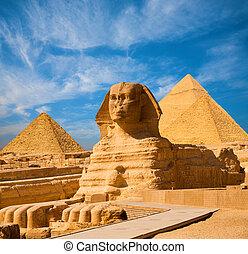 狮身人面像, 充足身体, 蓝的天空, 所有, 金字塔, 埃及