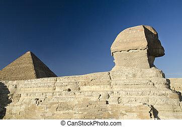 狮身人面像, 同时,, 巨大金字塔, 在中, giza