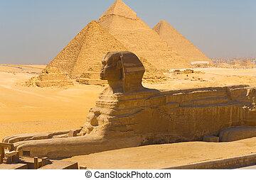 狮身人面像, 边观点, 金字塔, giza, 合成物