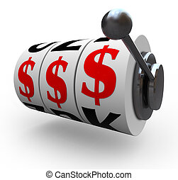 狹縫, -, 美元, 機器, 簽署, 賭博, 輪子