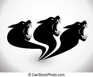 狼, ベクトル, -, イラスト, 印