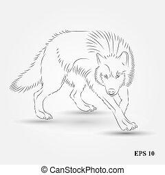 狼, ベクトル, シルエット