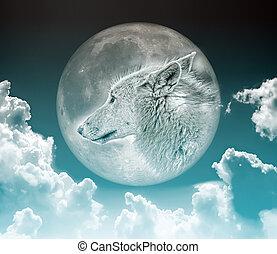 狼, 在, 月亮