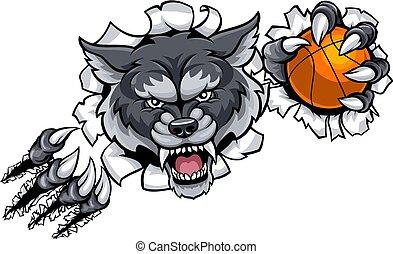 狼, 壊れる, バスケットボール, 背景, マスコット