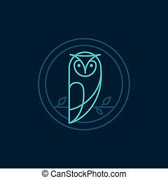 猫头鹰, 风格, 矢量, outline, 图标