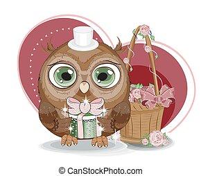 猫头鹰, valentines天, 卡片