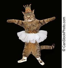 猫, 在中, the, 王冠, 同时,, pointe, 鞋子, 2